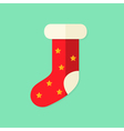Christmas Present Sock with Stars Flat Icon vector image