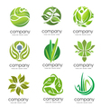 Circle green leaf logo set vector image