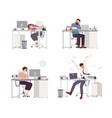 collection of depressed people at work tired male vector image vector image