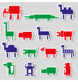color square digital simple retro animals stickers vector image