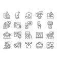 contactless society line icon set vector image vector image