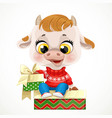 cute cartoon baby calf in red christmas sweater vector image vector image