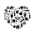 Dental care symbols in the shape of heart vector image vector image