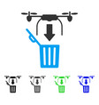 drone drop trash flat icon vector image vector image