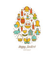 easter icons in the shape of an egg vector image vector image