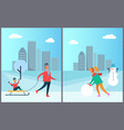 father carrying child on sleigh woman make snowman vector image vector image
