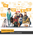 friends characters set a company young people vector image