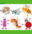 funny cartoon insects animal characters set vector image