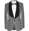 grey and black suit with white shirt and grey bow vector image vector image