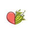 half of heart with green leaves symbol of love vector image vector image