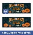 Halloween sale promotion banner for social media vector image vector image