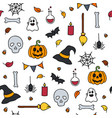 halloween seamless pattern doodle isolated set of vector image