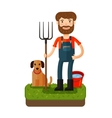 Happy farmer with a pitchfork icon vector image vector image