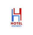 hotel icon with abstract font letter h vector image