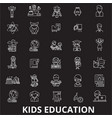 kids education editable line icons set on vector image