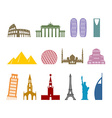 Landmark travel set Architectural monuments Known vector image vector image