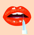 lips and botox injection red lips beauty concept vector image