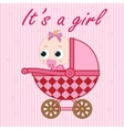 Little baby girl in the baby carriage vector image vector image