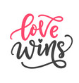 love wins hand written lettering vector image