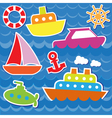 Marine transport stickers vector image vector image