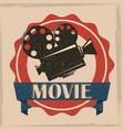 movie film projector retro poster vintage vector image
