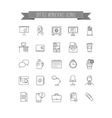 office workspace icons set vector image