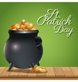 poster st patrick day pot coins gold on wooden vector image vector image