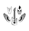 rock and roll symbols electric guitar punk skull vector image