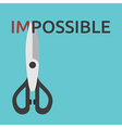 Scissors cutting word impossible vector image