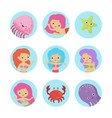 sealife cartoon characters icons set vector image vector image