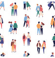 seamless pattern with young couples on romantic vector image vector image