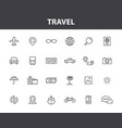 set 24 travel web icons in line style vector image