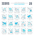 set blue line icons heavy equipment vector image vector image