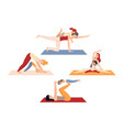 set mom and child practising postnatal yoga vector image vector image