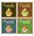 Set of four vintage posters cupcake vector image vector image