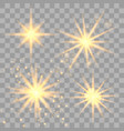 set of golden glowing lights vector image