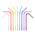 set rainbow colorful flexible cocktail straw vector image vector image