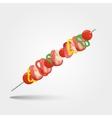 shashlik - grilled meat and vegetables vector image vector image