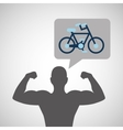 silhouette man bodybuilder bicycle vector image