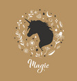 silhouette of unicorn in the flower rustic vector image