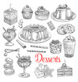 sketch icons of dessert cookies and cakes vector image vector image