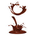splashes and drops of dark chocolate vector image vector image