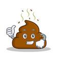 thumb up poop emoticon character cartoon vector image vector image