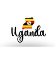 uganda country big text with flag inside map vector image