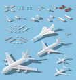 various passenger airplanes and maintenance vector image