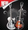 vintage retro guitar vector image vector image