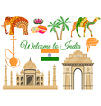 Welcome to India Indias traditional symbols icons vector image