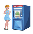 woman atm money credit isolated vector image vector image