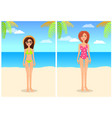 women in red swimsuit and straw hat glasses bikini vector image