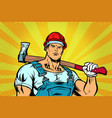 woodcutter working with the axe vector image vector image